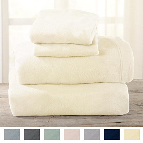 Maya Collection Super Soft Extra Plush Polar Fleece Sheet Set. Cozy, Warm, Durable, Smooth, Breathable Winter Sheets in Solid Colors. By Home Fashion Designs Brand. (Twin, Pristine Ivory) Polyester Polar Fleece