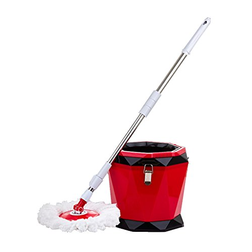 LIZHIQIANG Hands-free Rotation Mop Bucket Household Mop Mop Good God Drag Flat Mop Dry Diamond To Mop Mop ( Color : Red , UnitCount : C ) (Wiper Diamond)