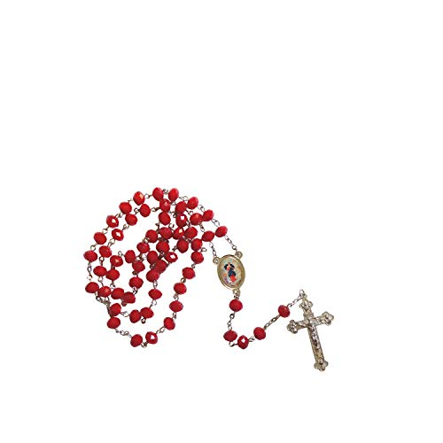 (Gifts by Lulee, LLC Our Lady Untier of Knots Maria Desatanudos Garnet Faceted Opaque Round 8mm Beads Rosary with Silver Plated Medal Centerpiece and Tertium Millenium Crucifix Includes a Prayer Ca)
