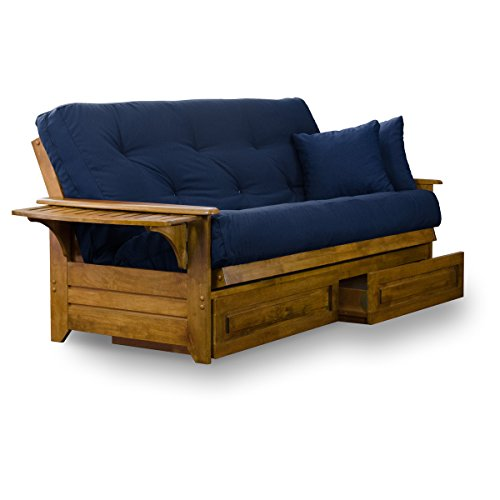 Brentwood Tray Arm Futon Frame, Drawers, and Navy Blue Mattress Set - Queen, ...