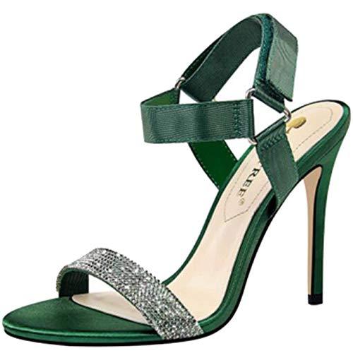 En coloré Sandales Bride Noir Vert Velcro Uk Femme À Compensés Hhgold Talons Pour Et Taille Cheville 7 Lacets tRwBdg