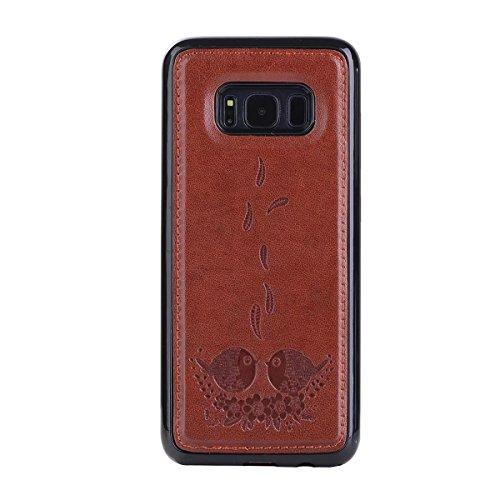 avec détachable embouts avec Galaxy housse S8 Housse et caleçon Flip PU pour Pattern Rosegold Samsung Color Embossing Bird arrière Wllet Housse en Brown cuir xwOqxzYaH