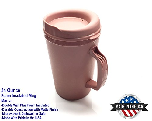 (34oz. Thermoserv Foam Insulated Mug - Mauve Pink - Used in Hospitals)