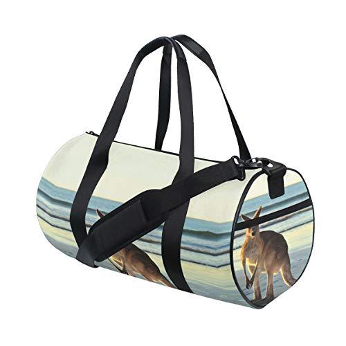 Carefree Kangaroo Animal Custom Multi Lightweight Large Yoga Gym Totes Handbag Travel Canvas Duffel Bags With Shoulder Crossbody Fitness Sport Luggage For Boy Girl Men Women ()