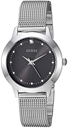 GUESS  Stainless Steel Mesh Bracelet Watch with Black Genuine Diamond Dial. Color: Silver-Tone (Model: U1197L1)