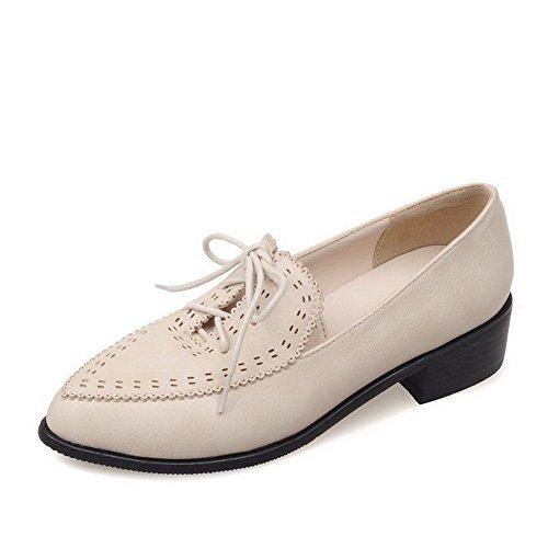 AgooLar Damen Mittler Absatz Lackleder Rein Schnüren Spitz Zehe Pumps Schuhe Cremefarben