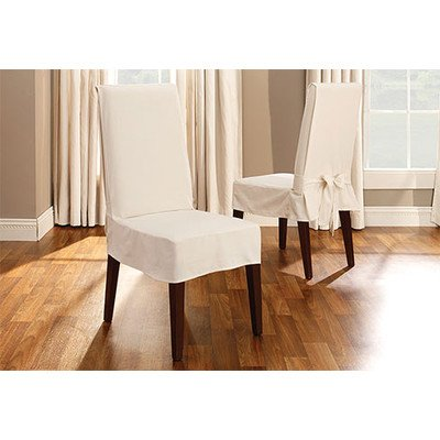 Sure Fit Duck Solid - Shorty Dining Room Chair Slipcover  - Natural (Duck Short Dining Chair Slipcovers)