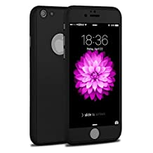 iPhone 6S Case,Slim Ultra Thin Perfect Fit 360 Degree Full Protection Premium Matte Hard Case with Tempered Glass Screen Protector For iPhone 6/6S-Black (iPhone 6/6S Plus)
