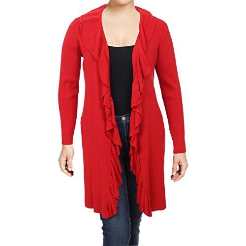(LAUREN RALPH LAUREN Womens Plus Telania Ruffled Cardigan Sweater Red 3X)