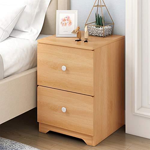 m·kvfa Modern Assemble Storage Cabinet Bedroom Bedside Locker Double Drawer Nightstand Bedside Side Table for Living Room School Home Office (Nordic Pine Color)