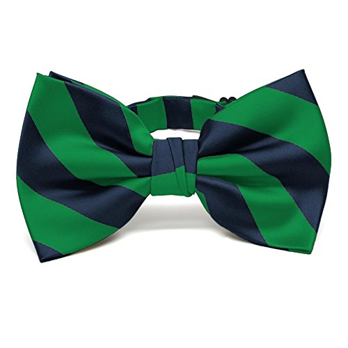 TieMart Kelly Green and Navy Blue Striped Bow Tie