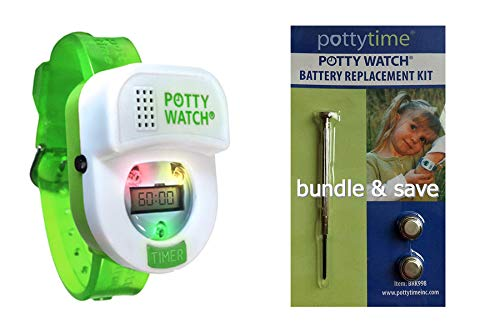 Potty Time: The Original Potty Watch | Newly Improved 2020 ~ Water Resistant | Toddler Toilet Training Aid, Warranty Included (Automatic Timers with Music for Gentle Reminders), Green + Battery Kit