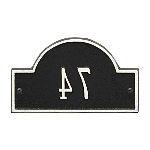 Personalized Products Petite One-Line Arch Marker Address Plaque in Black/White ()