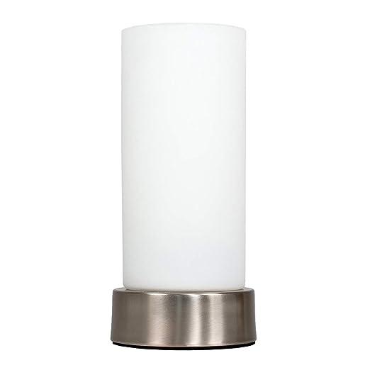 MiniSun mesa Moderna de de cristal noche con pantalla blanco de Cromada – lámpara qpjLGMVUzS