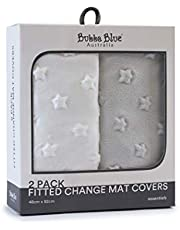 Bubba Blue Everyday Essentials Fitted Change Mat Cover 2 Piece Set, Grey/White, 2 piece
