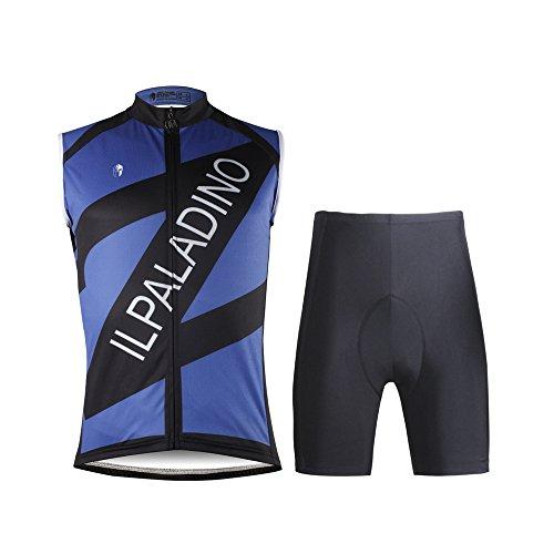 統合倫理的シード[ILPALADINO] #W678 高品質サイクルウェア メンズ用 ノースリーブ 3Dパッド付き半ズボン パンツ 上下セット cycling clothes サイクリングジャージ コンプレッションウェア MTB レーサー