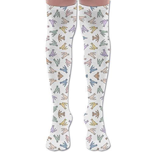 DFAUHAL Bunny Hop Wallpaper (2922) Knee High Graduated Compression Socks for Unisex - Best Medical, Nursing, Travel & Flight Socks - Running & Fitness