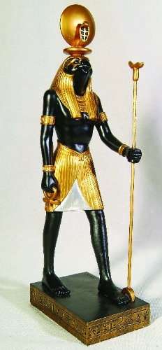 Ra Egyptian god Figurine Classic Black and Golden Finishing Cold Cast Resin Statue 11 7/8""