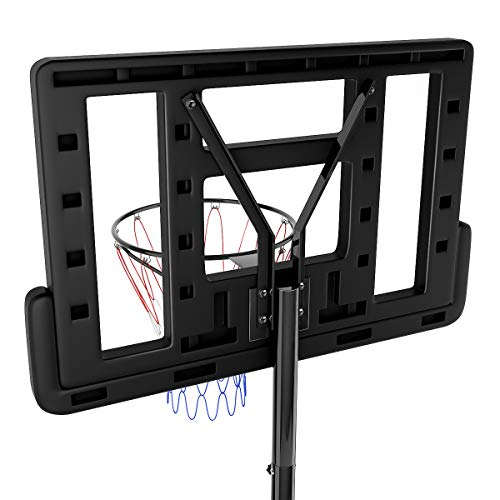 Giantex Portable Basketball Hoop System In-Ground Base NBA Outdoor Indoor Adjustable Height Stand Poolside Portable Basketball System w/Wheels Shatterproof Backboard