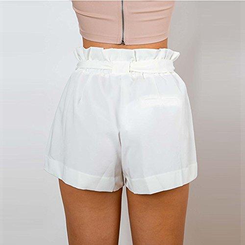 Vita Pantaloni Casuale Donna Elastica XL Corti Unita S Pantaloni Media Vita Tinta Bianca Comodi Shorts Cintura Loose Moda Fit con qaraZt
