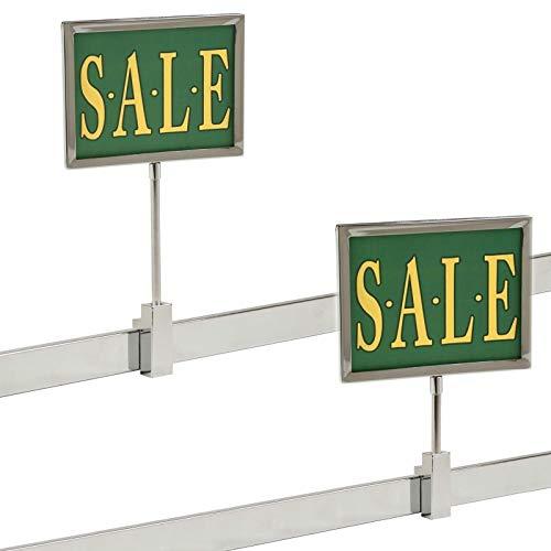 "Rectangular Retail Rack Chrome Frame Magnetic 5.5"" x 7"" Sign Holder Sale Card Display 10"" H, 2 Pack"
