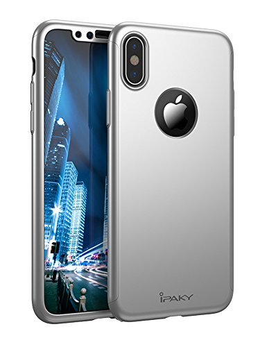 iPhone X Full Body Case, IPAKY 360 Degree Protection Ultra Thin Hard Slim Case Coated Non Slip Matte Surface with Nano Anti-explosion Screen Protector for Apple iPhone 10 (Silver)