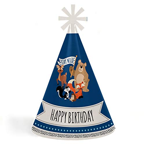 Forest Cone - Stay Wild - Forest Animals - Cone Happy Birthday Party Hats for Kids and Adults - Set of 8 (Standard Size)