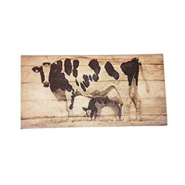 Mama Cow and Calf Canvas Wall Plaque