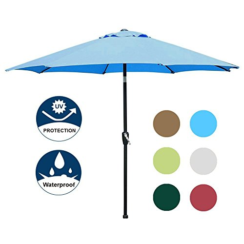 Blissun 9' Outdoor Market Patio Umbrella with Auto Tilt and Crank, 8 Ribs (Light Blue) by Blissun