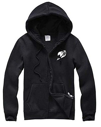 Ya-cos Fairy Tail F&C Happy Bag Lovers Fleece Casual Zipper Jacket Coat,Black, Large -