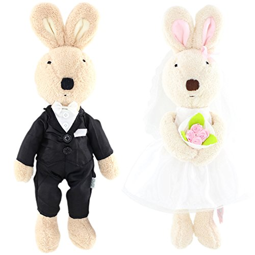 JIARU Toy Bunny Rabbits Plush Stuffed Animals for Lover Valentine's Day Wedding Gifts,12 Inches,2PCS/SET