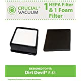 Dirt Devil F51 Filter Kit w/ HEPA Filter & Foam Pre-filter; Compare to Dirt Devil Part No. 304008001; Designed & Engineered by Think Crucial