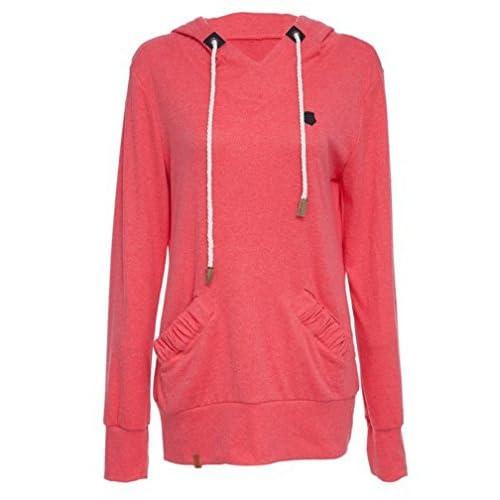 1a1e15572a BOMOVO Mujer Camiseta Manga Larga Con Capucha Sudaderas Camisa Blusa  T-shirt Blouses Pullover rojo