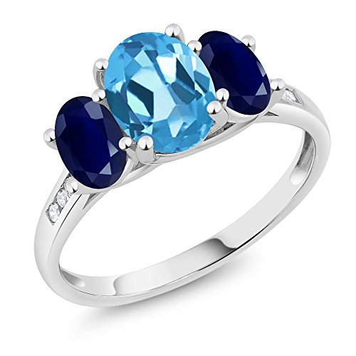 10K White Gold Diamond Accent Oval Swiss Blue Topaz Blue Sapphire 3-Stone Ring 2.50 Ct, Available in size (5,6,7,8,9)
