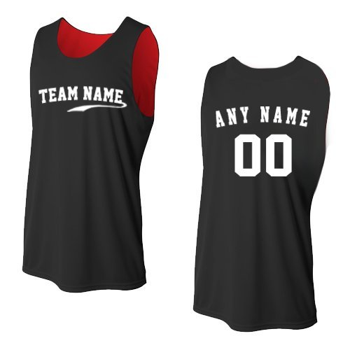 (Black/Red Adult Medium Custom (Front and/or Back) Reversible Sleeveless Wicking Tank Sports Jersey)
