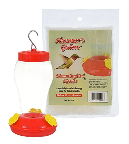 Norske Line Hummingbird Feeder and Hummer's Galore Nectar Mix with Directions Bundle