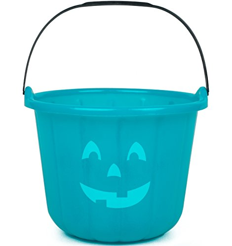 SCS Direct Teal Pumpkin Halloween Trick or Treat Bucket 8.5 in - Official Teal Pumpkin Project Allergy-Friendly Candy Accessory. -