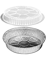 "HandiFoil 7"" Takeout to-Go Round Disposable Aluminum Foil Pan Sets with Plastic Dome Lids, 10 Count, 7 1/8""x 7 1/8"" x 1 1/2"" deep"
