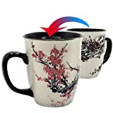 Asmwo Color Changing Heat Sensitive Magic Funny Morning Coffee Tea Porcelain Plum Blossom Mug for Mom, 16oz, Black Change Glow red