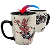 Asmwo Color Changing Heat Sensitive Magic Funny Art Mug Large Coffee Tea Plum Blossom Porcelain Mugs for Women Mom…