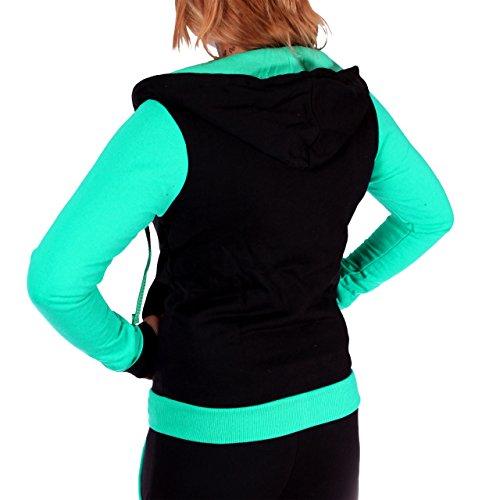 Las mujeres de chándal con pantalones de entrenamiento para Plain algodón traje de chaqueta, con capucha y ribete elástico. De XS a Schwarz Mint- fällt klein aus