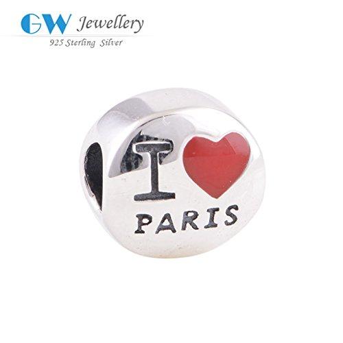 Rainy Jewel I love Paris 925 silver charm beads fits bracelets bangles GW fine jewelry D061B