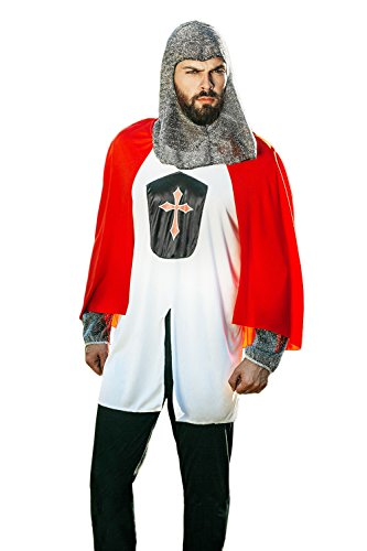 Warrior Costumes Noble Mens Adult (Adult Men Crusader Costume Templar Knight Armor Medieval Dress Up Role Play Cosplay (Medium/Large, White, Red,)