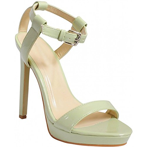 Mint 3 8 Womens Damene Der Patent Stiletter Knapt Peep Armbånd Ankel Sandaler Strappy Grønn Toe Cuff tS6FSZBwq