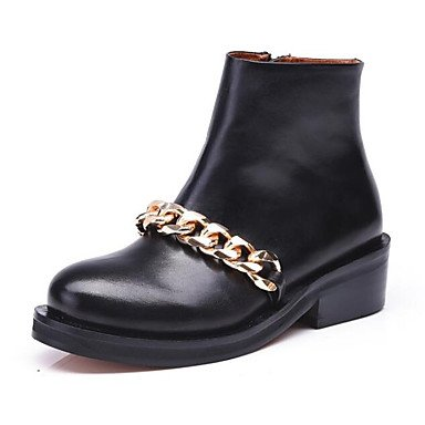 Boots Heel Women'S Boots Nappa UK6 Winter RTRY 5 Flat 5 EU39 Boots CN40 Combat US8 Shoes Black Fashion Boots Casual Booties Pu Ankle For Leather 0qwd74w