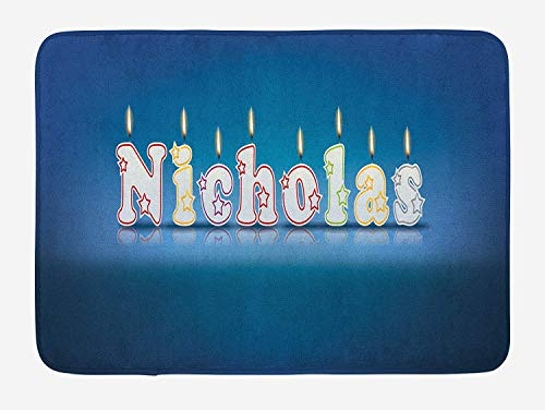 Nicholas Bath Mat, Surprise Party for The Birthday Boy Child`s Name with Burning Candles, Plush Bathroom Decor Mat with Non Slip Backing, 23.6 W X 15.7 W Inches, Blue and Multicolor -