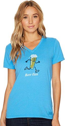 Life is Good Women's Beer Run Crusher Vee, Tile Blue, M