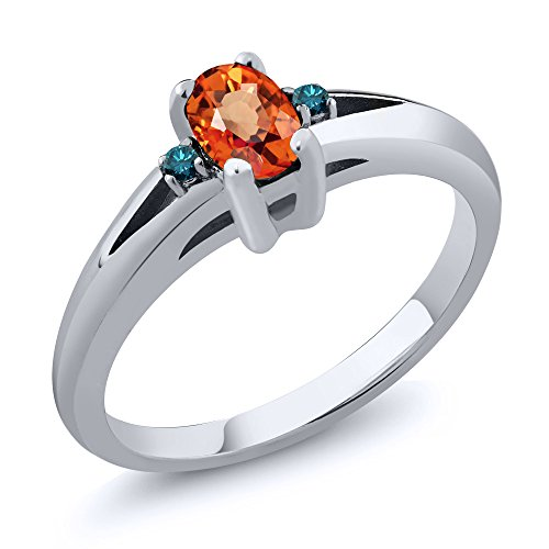 Orange Sapphire Wedding Set - 0.58 Ct Oval Orange Sapphire Blue Diamond 925 Sterling Silver Ring (Size 8)