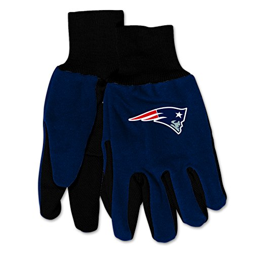 Wincraft NFL New England Patriots Mechanical/Gardening/Work/Utility Glove with 3D Logo … (Blue on Black)