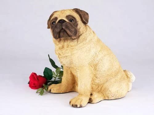 King Products Pug Fawn Cremation Pet Urn for Secure Installation of Your Beloved pet's Ashes.Rose not Included.